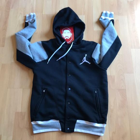 a37645d8004565 Jordan Other - Letterman Jacket Style 7 Snap Hooded Sweatshirt